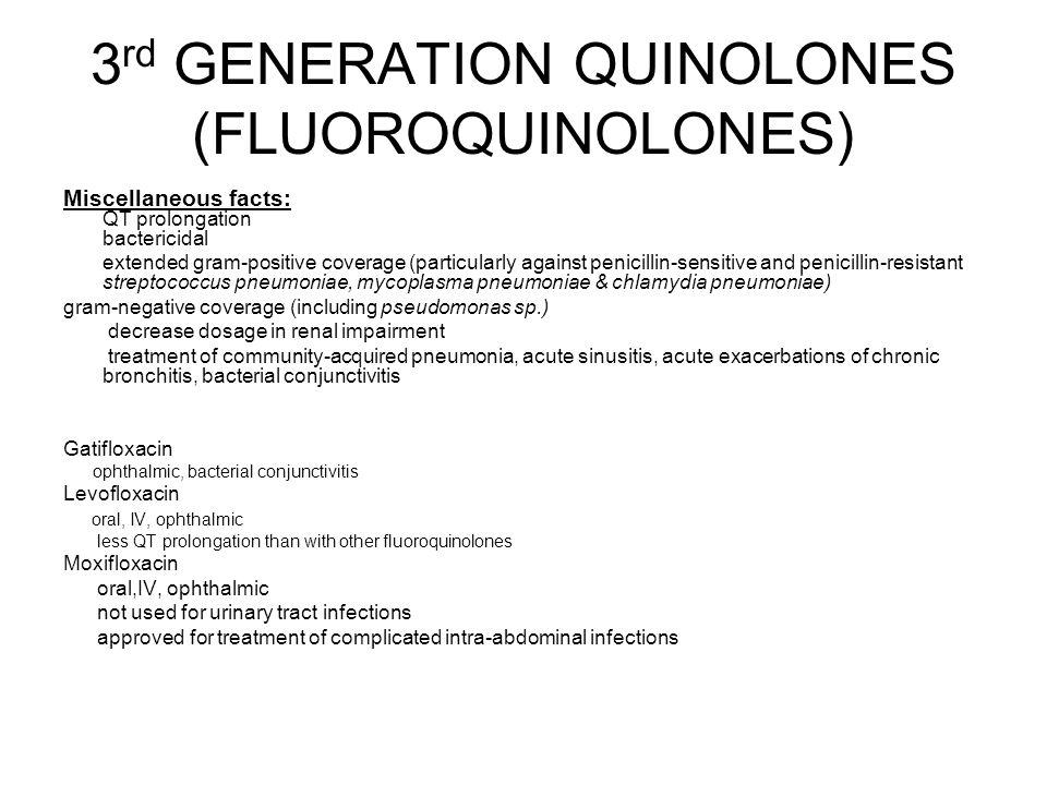 3rd GENERATION QUINOLONES (FLUOROQUINOLONES)