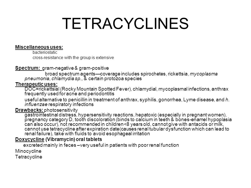 TETRACYCLINES Miscellaneous uses: