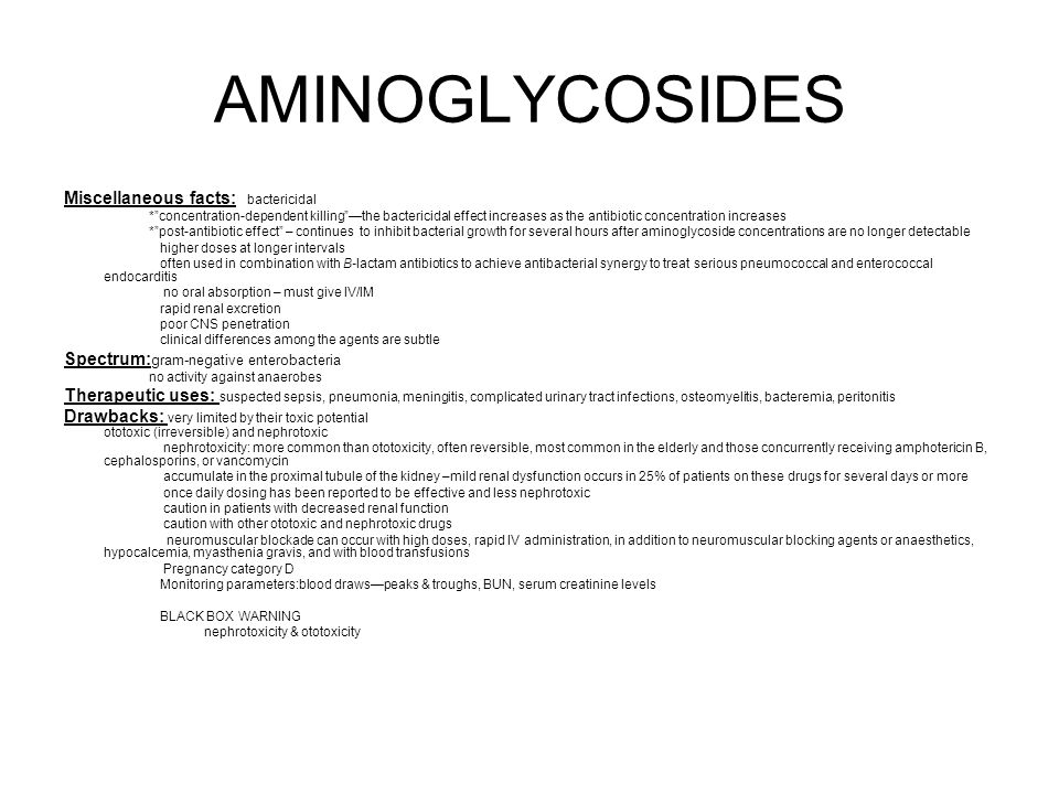 AMINOGLYCOSIDES Miscellaneous facts: bactericidal