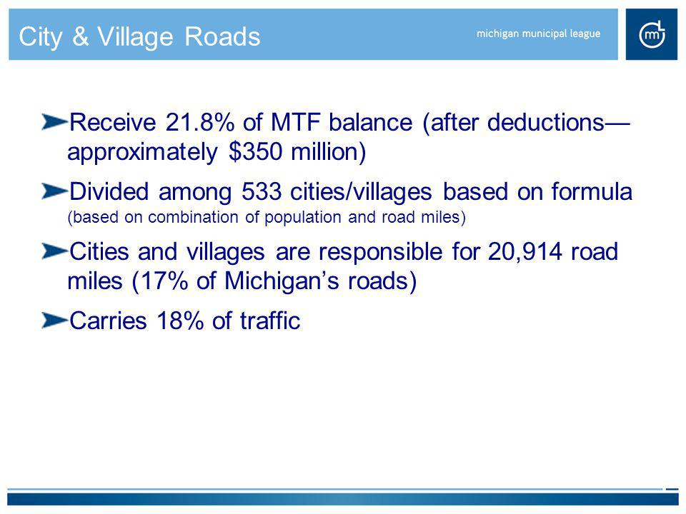 City & Village Roads Receive 21.8% of MTF balance (after deductions— approximately $350 million)