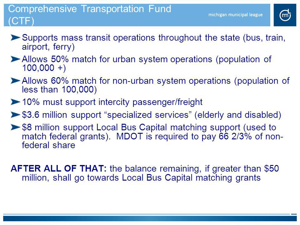 Comprehensive Transportation Fund (CTF)