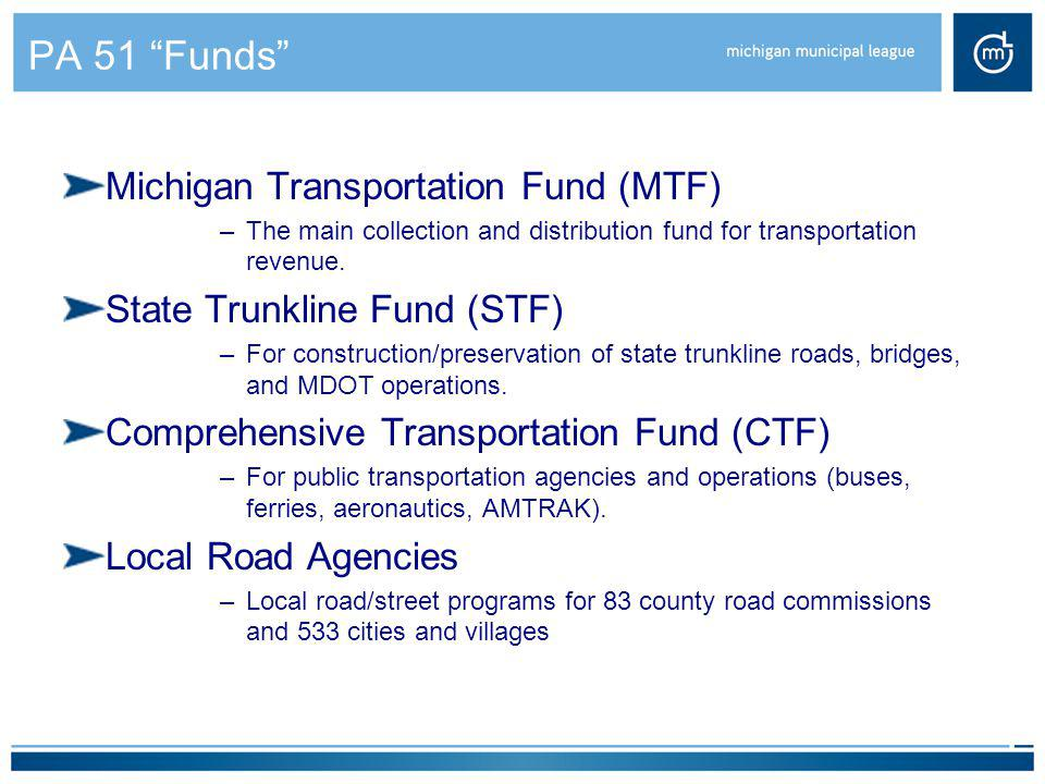 PA 51 Funds Michigan Transportation Fund (MTF)