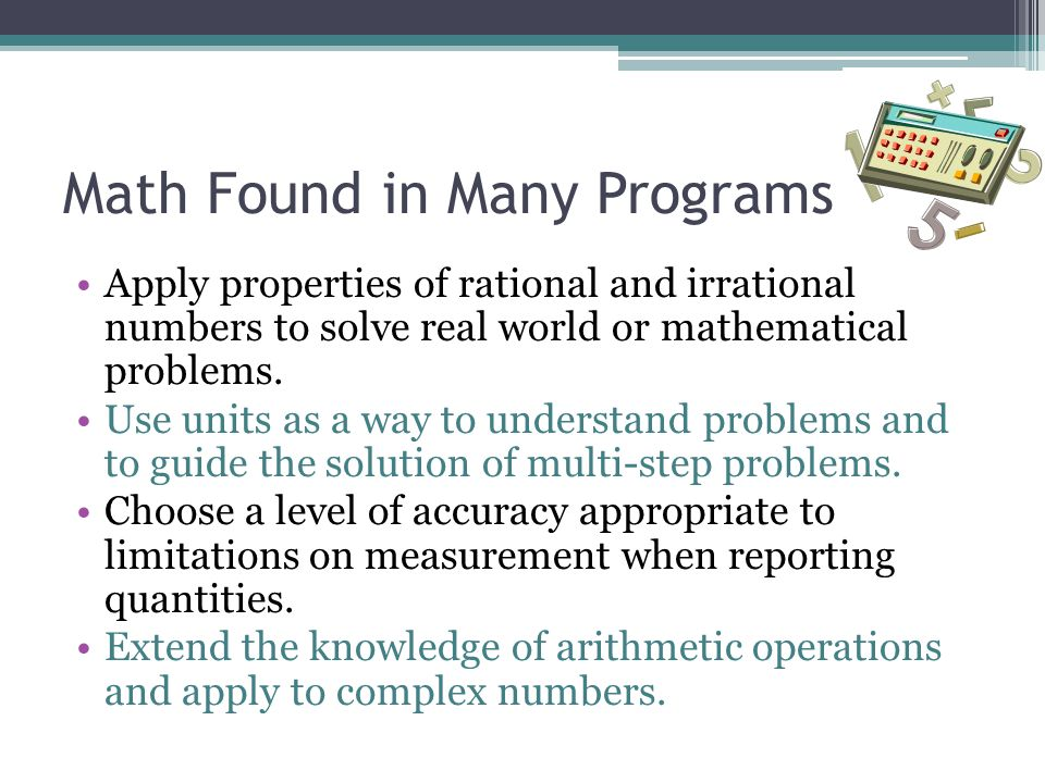 Math Found in Many Programs