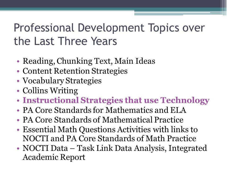 Professional Development Topics over the Last Three Years