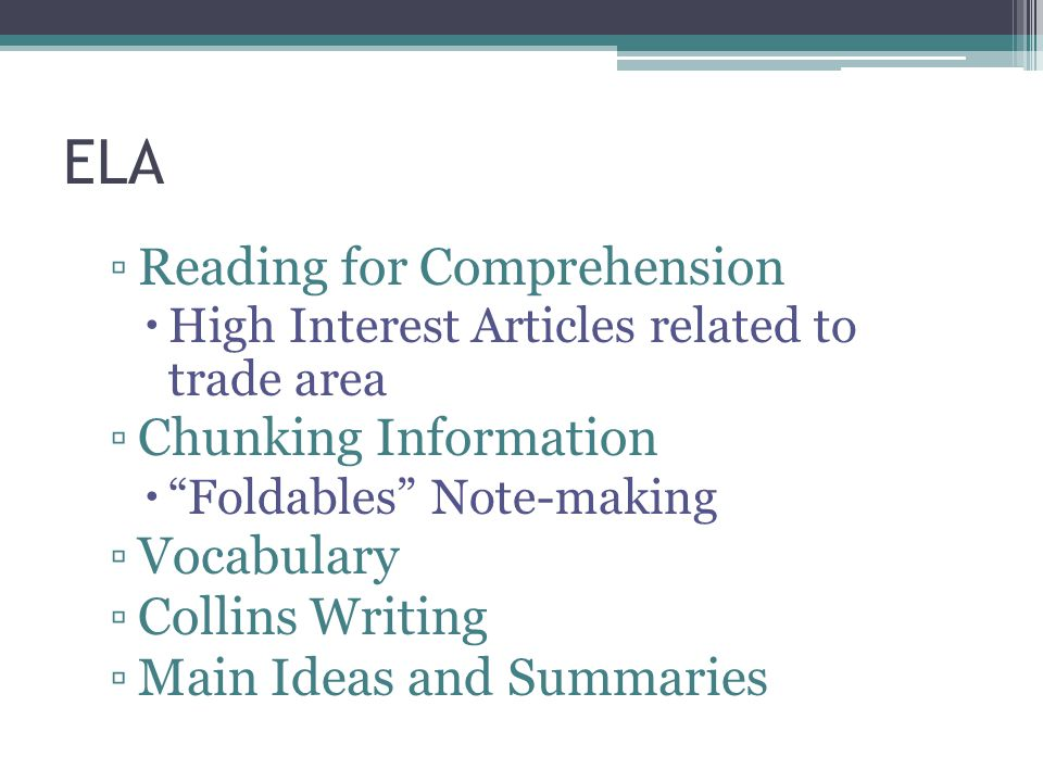 ELA Reading for Comprehension Chunking Information Vocabulary