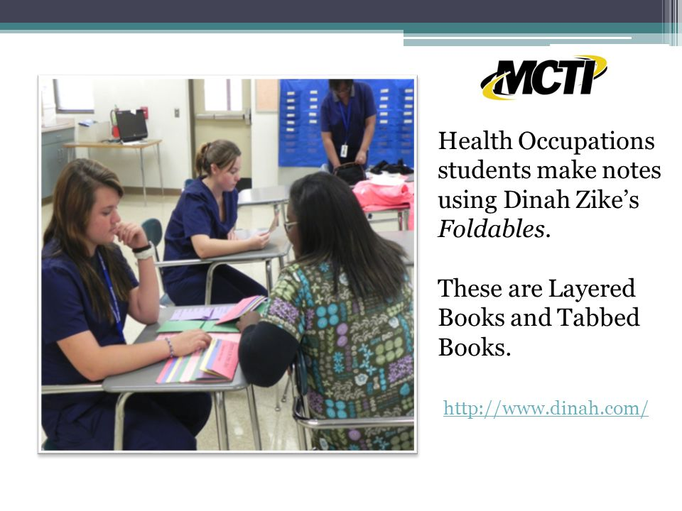Health Occupations students make notes using Dinah Zike's Foldables.