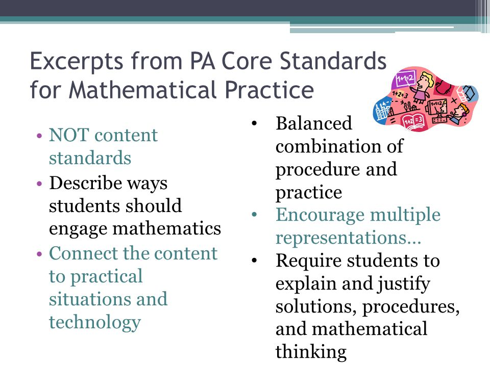 Excerpts from PA Core Standards for Mathematical Practice