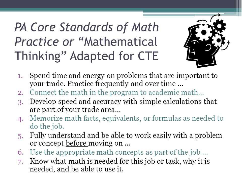 PA Core Standards of Math Practice or Mathematical Thinking Adapted for CTE
