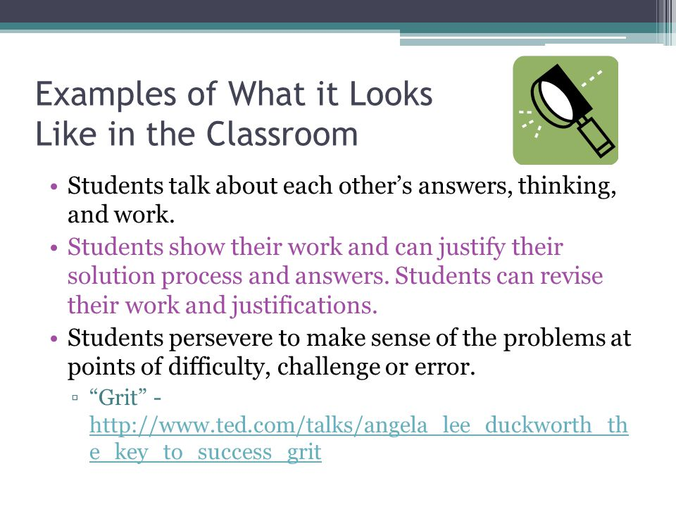 Examples of What it Looks Like in the Classroom