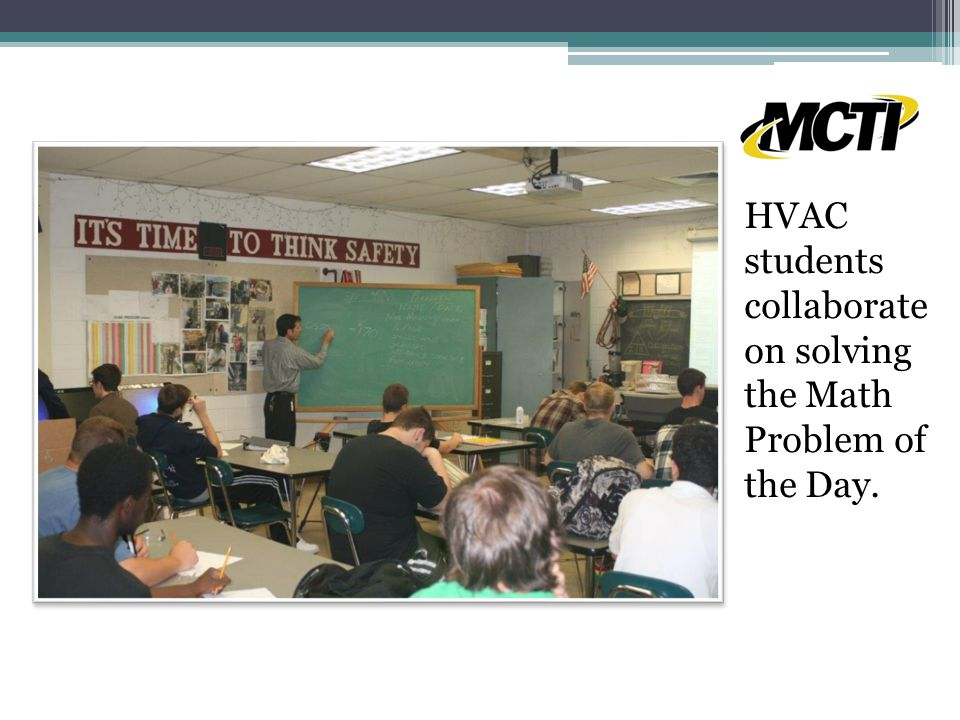 HVAC students collaborate on solving the Math Problem of the Day.