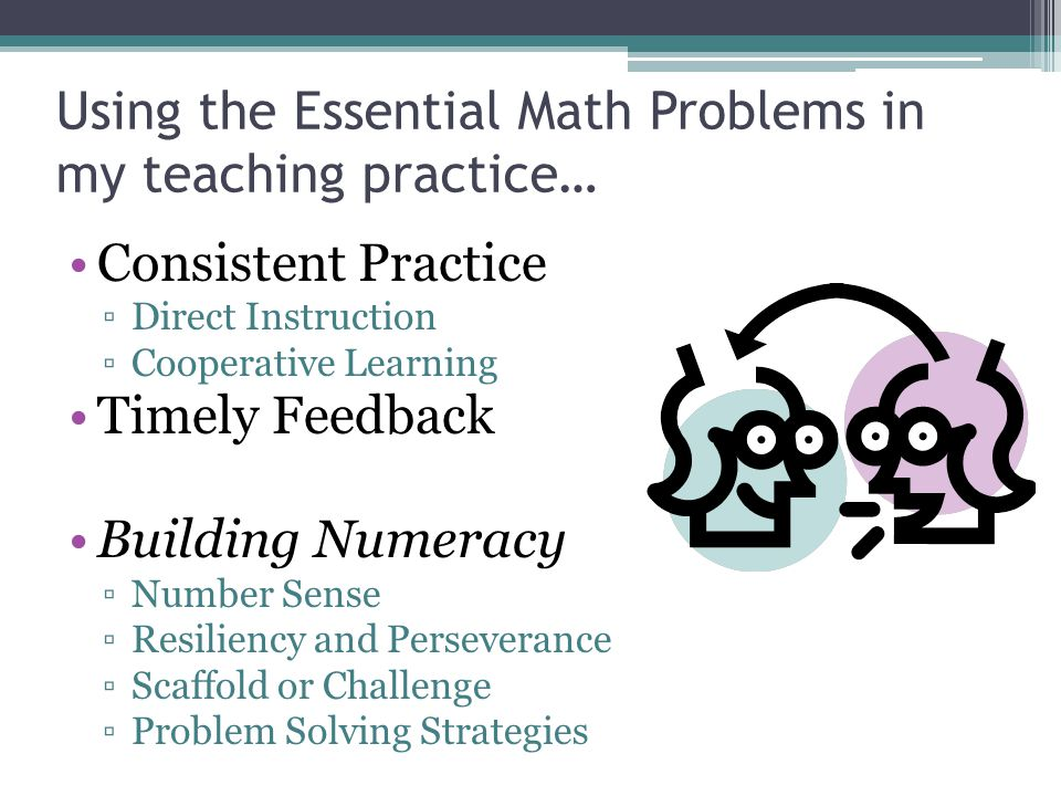 Using the Essential Math Problems in my teaching practice…