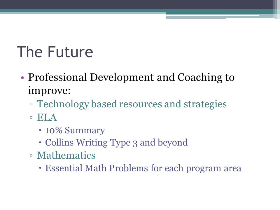 The Future Professional Development and Coaching to improve: