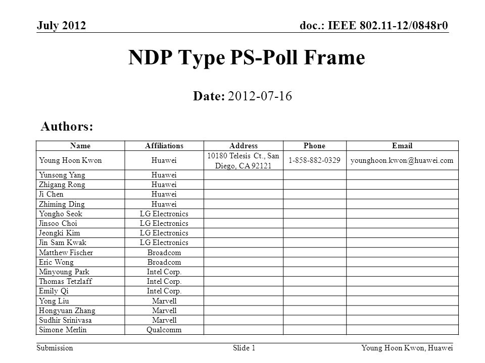 NDP Type PS-Poll Frame Date: 2012-07-16 Authors: July 2012 Month Year