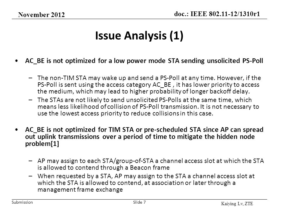 November 2012 Issue Analysis (1) AC_BE is not optimized for a low power mode STA sending unsolicited PS-Poll.
