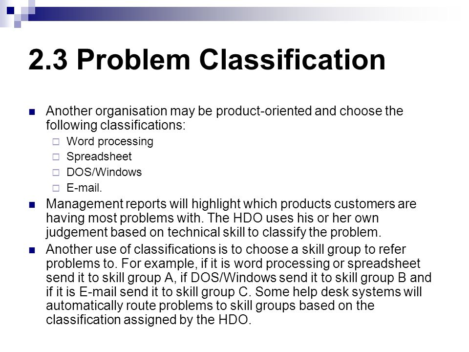 2.3 Problem Classification