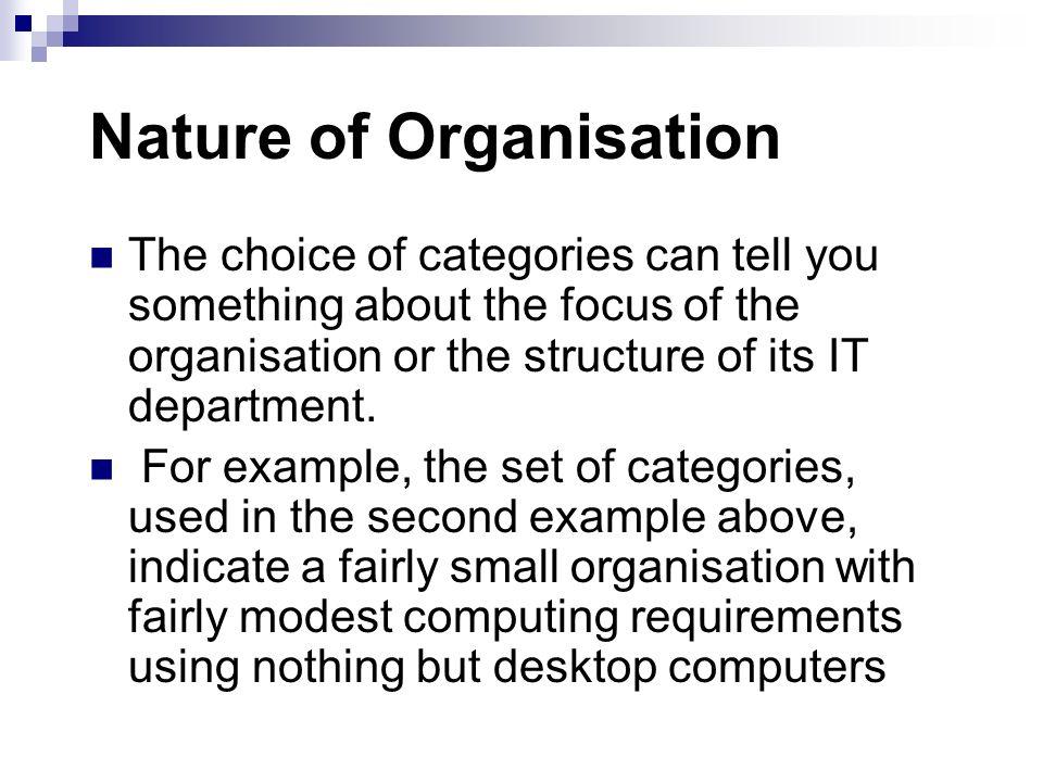 Nature of Organisation