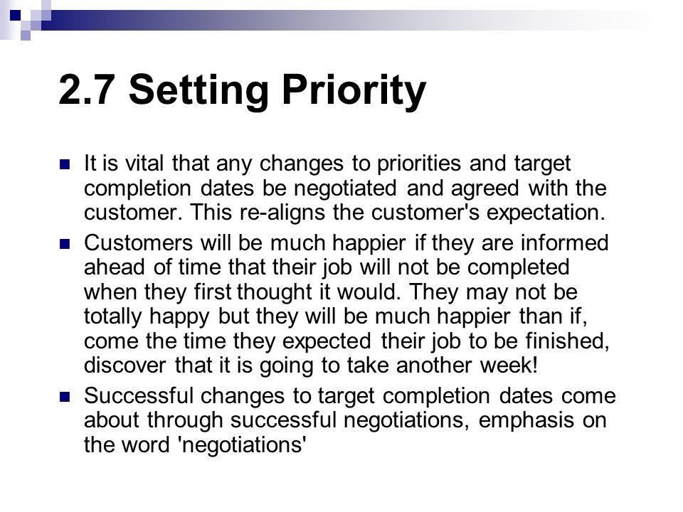 2.7 Setting Priority