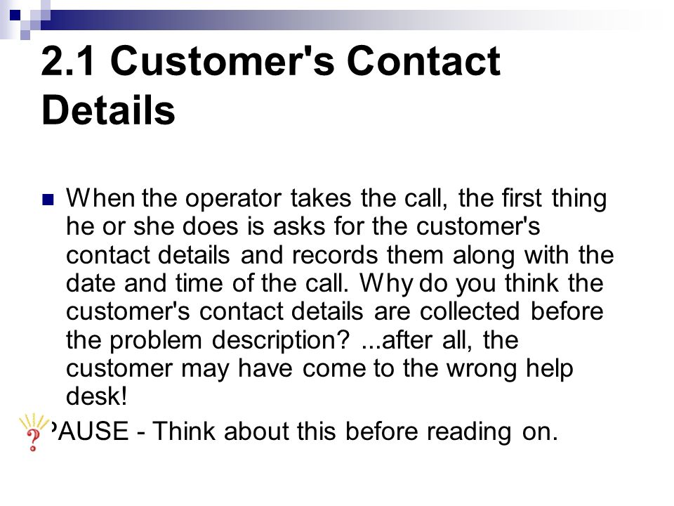 2.1 Customer s Contact Details