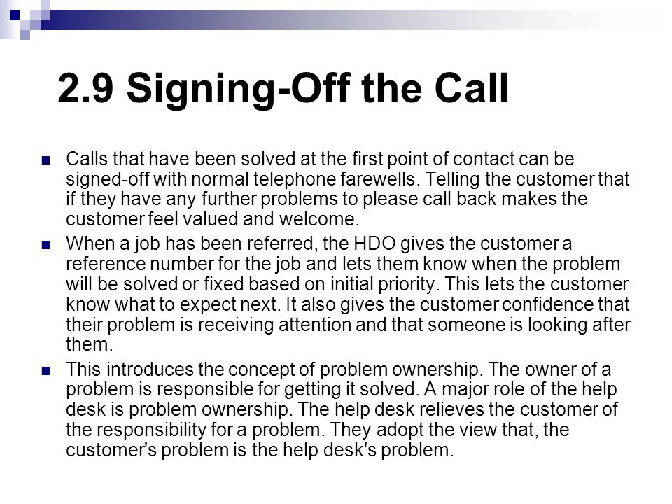2.9 Signing-Off the Call