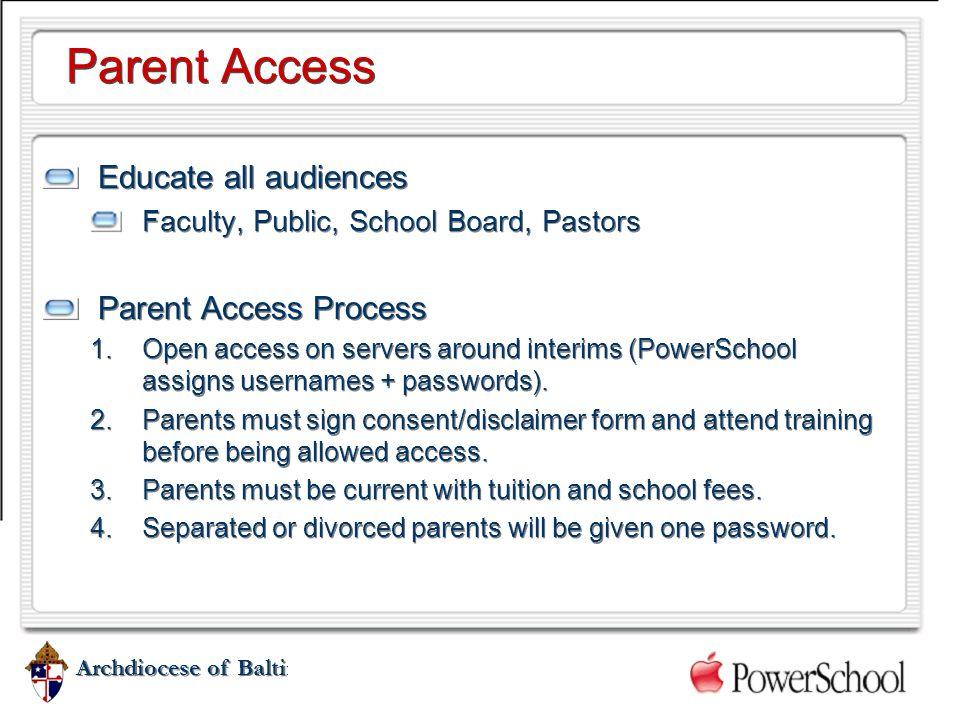 Parent Access Educate all audiences Parent Access Process
