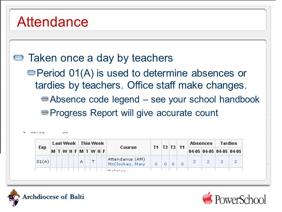 Attendance Taken once a day by teachers