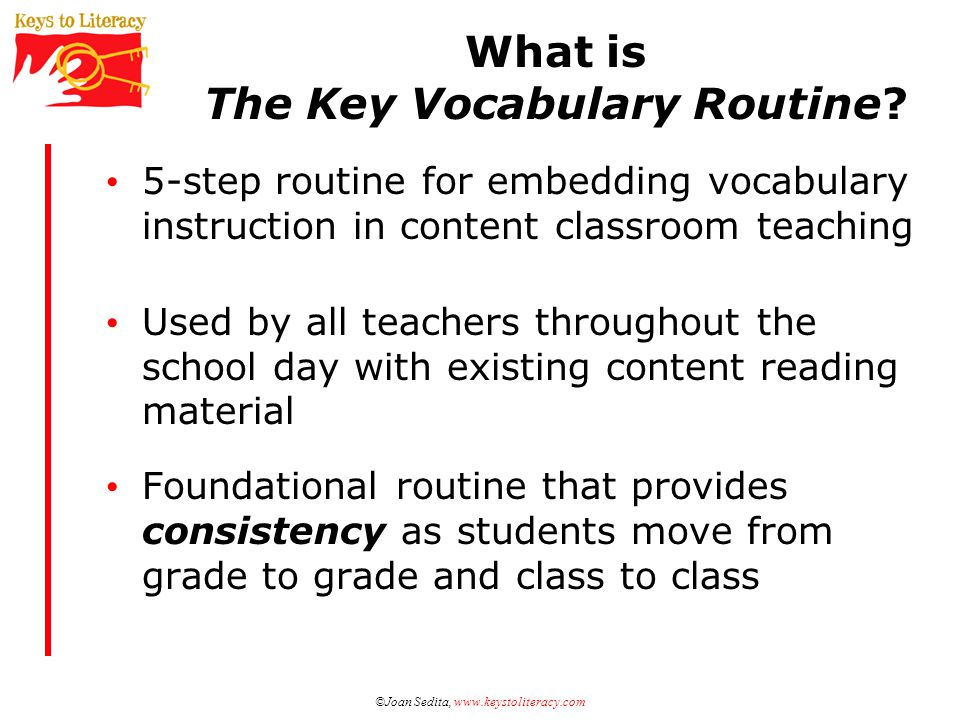 What is The Key Vocabulary Routine