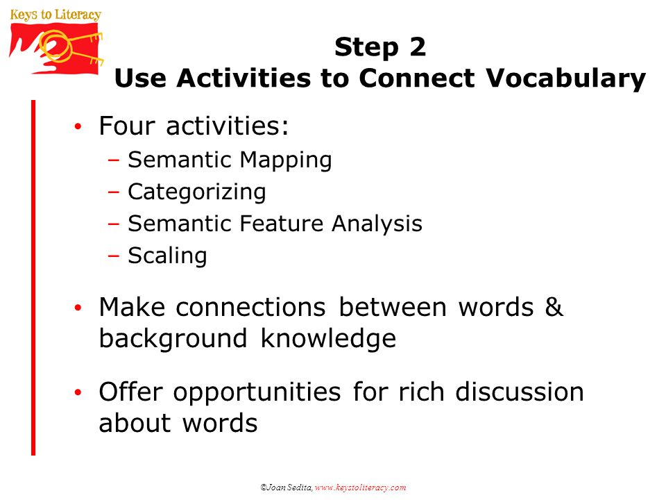 Step 2 Use Activities to Connect Vocabulary