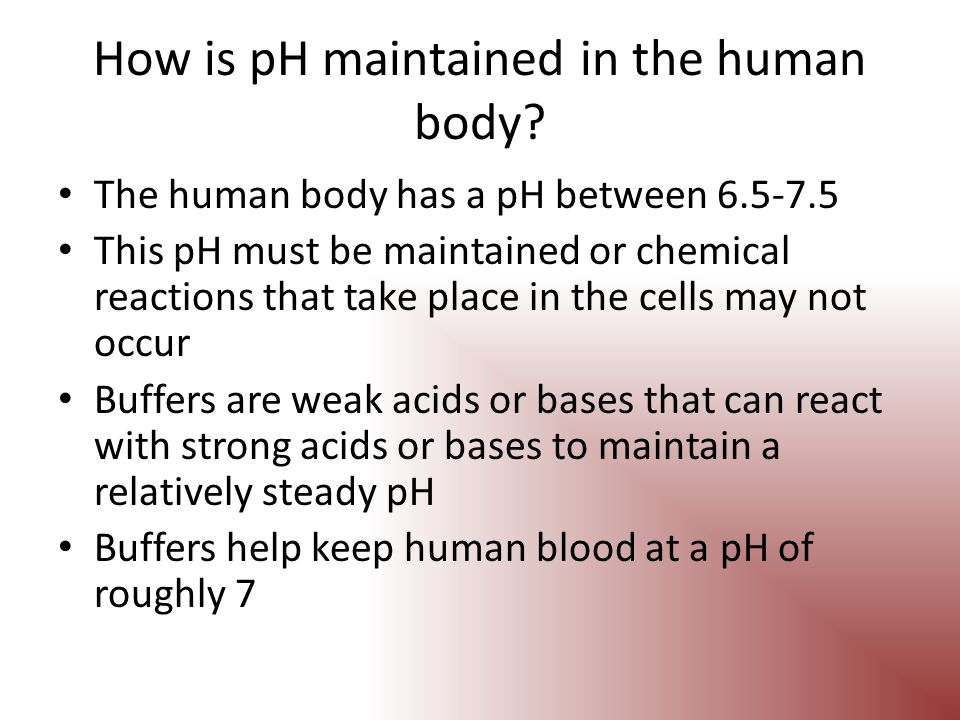 How is pH maintained in the human body