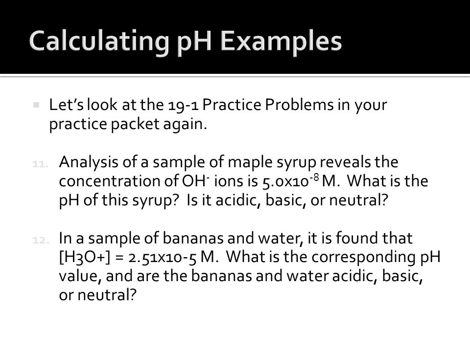 Calculating pH Examples