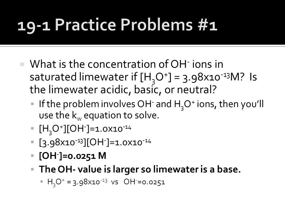 19-1 Practice Problems #1