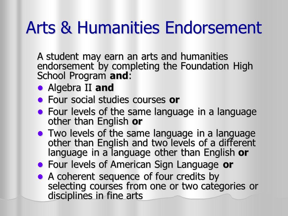 Arts & Humanities Endorsement