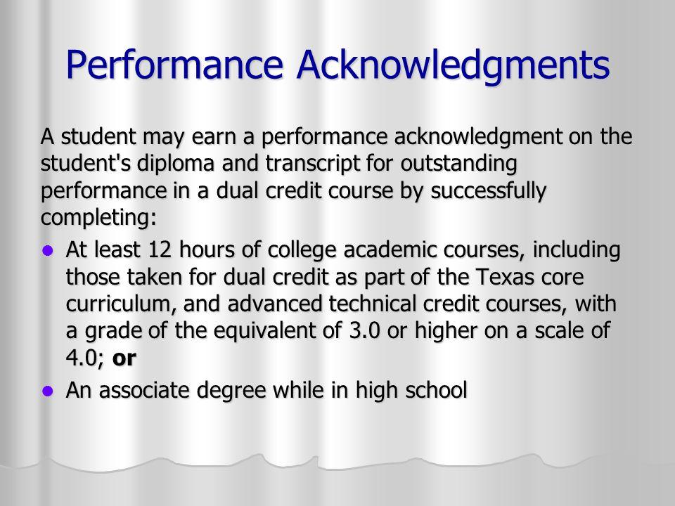 Performance Acknowledgments