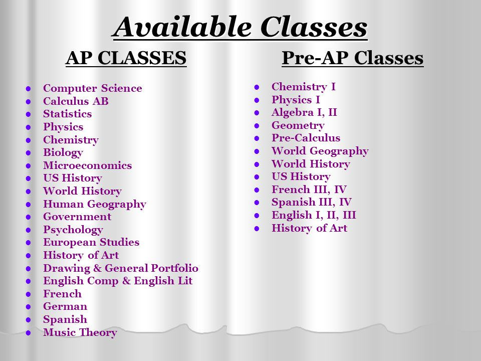 Available Classes AP CLASSES Pre-AP Classes Computer Science