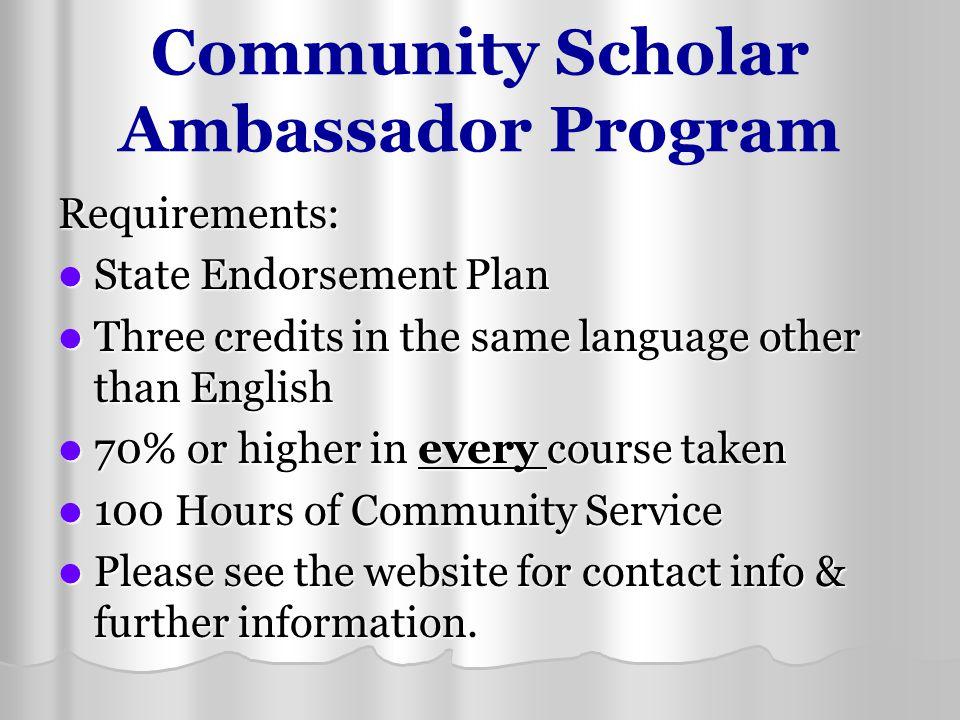 Community Scholar Ambassador Program