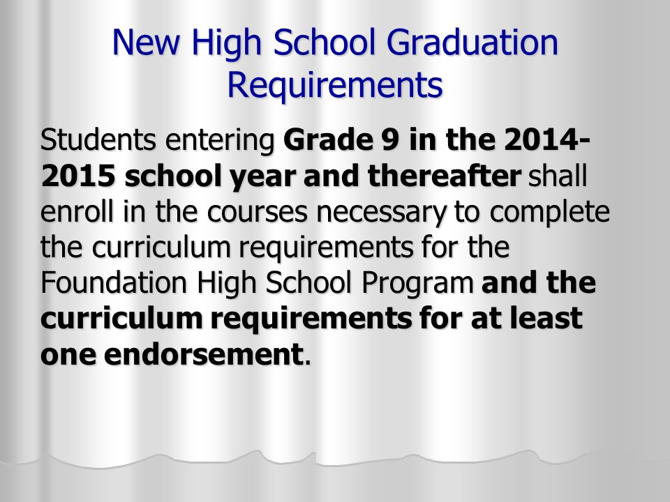 New High School Graduation Requirements