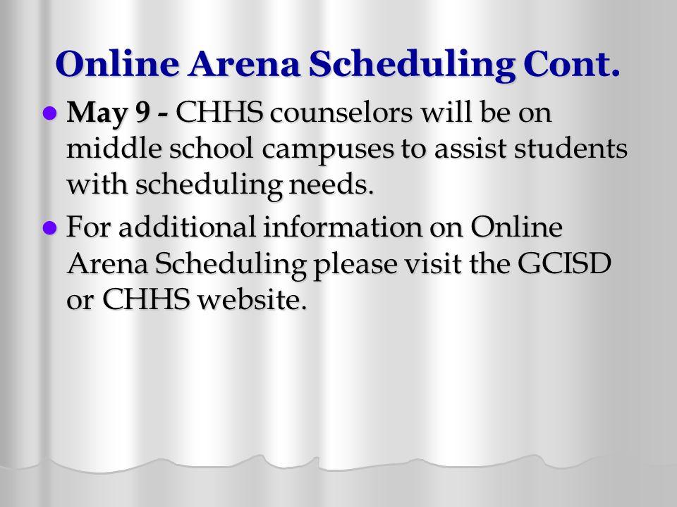 Online Arena Scheduling Cont.