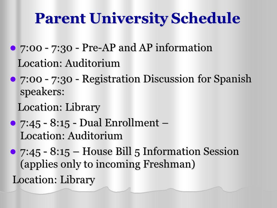 Parent University Schedule