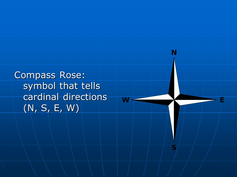 Compass Rose: symbol that tells cardinal directions (N, S, E, W)