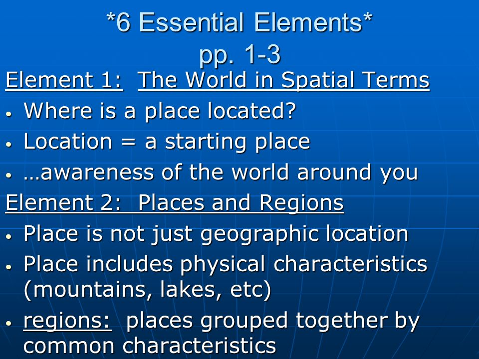 *6 Essential Elements* pp. 1-3