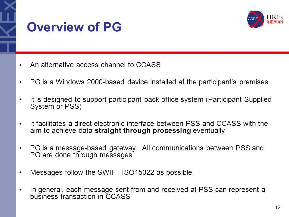 Overview of PG An alternative access channel to CCASS