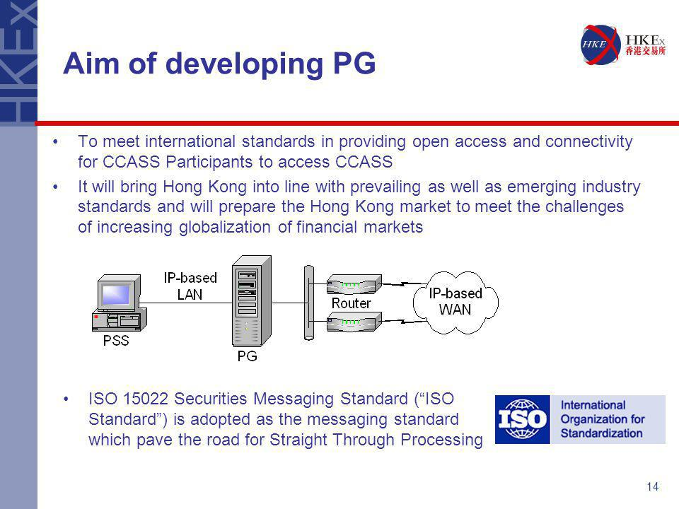 Aim of developing PG To meet international standards in providing open access and connectivity for CCASS Participants to access CCASS.