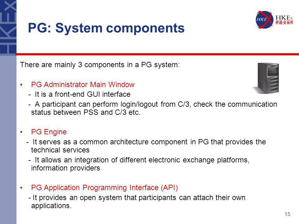 PG: System components There are mainly 3 components in a PG system: