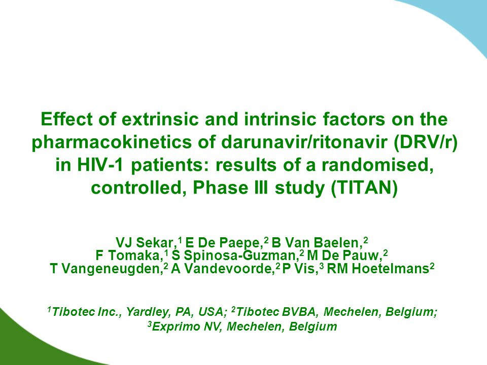 Effect of extrinsic and intrinsic factors on the pharmacokinetics of darunavir/ritonavir (DRV/r) in HIV-1 patients: results of a randomised, controlled, Phase III study (TITAN)