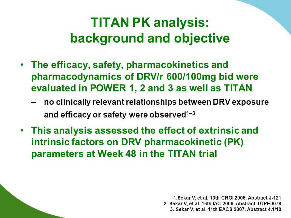 TITAN PK analysis: background and objective