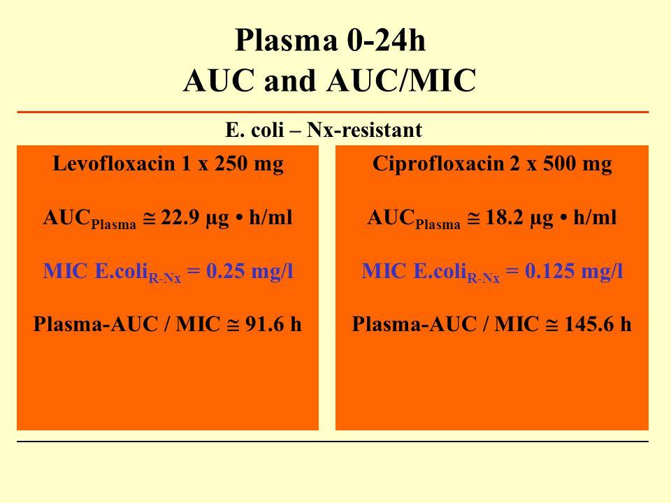 Plasma 0-24h AUC and AUC/MIC