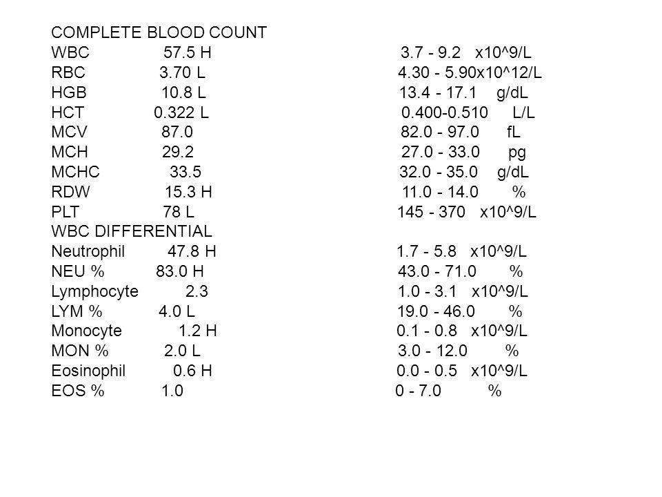 COMPLETE BLOOD COUNT WBC 57.5 H 3.7 - 9.2 x10^9/L.
