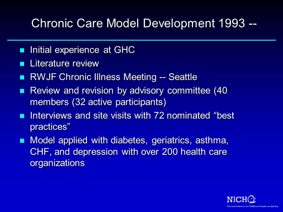 Chronic Care Model Development 1993 --