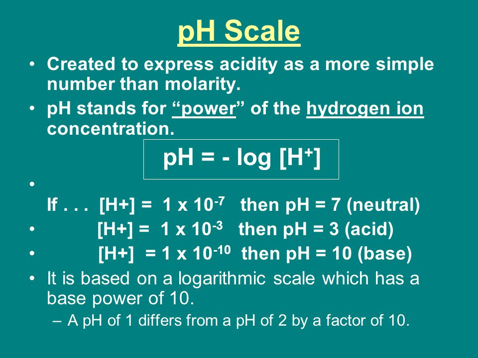 pH Scale Created to express acidity as a more simple number than molarity. pH stands for power of the hydrogen ion concentration.