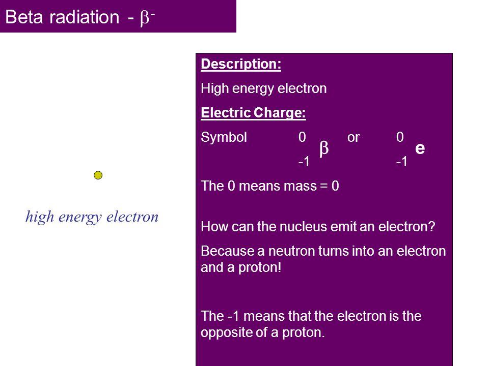 Beta radiation - -  e high energy electron Description: