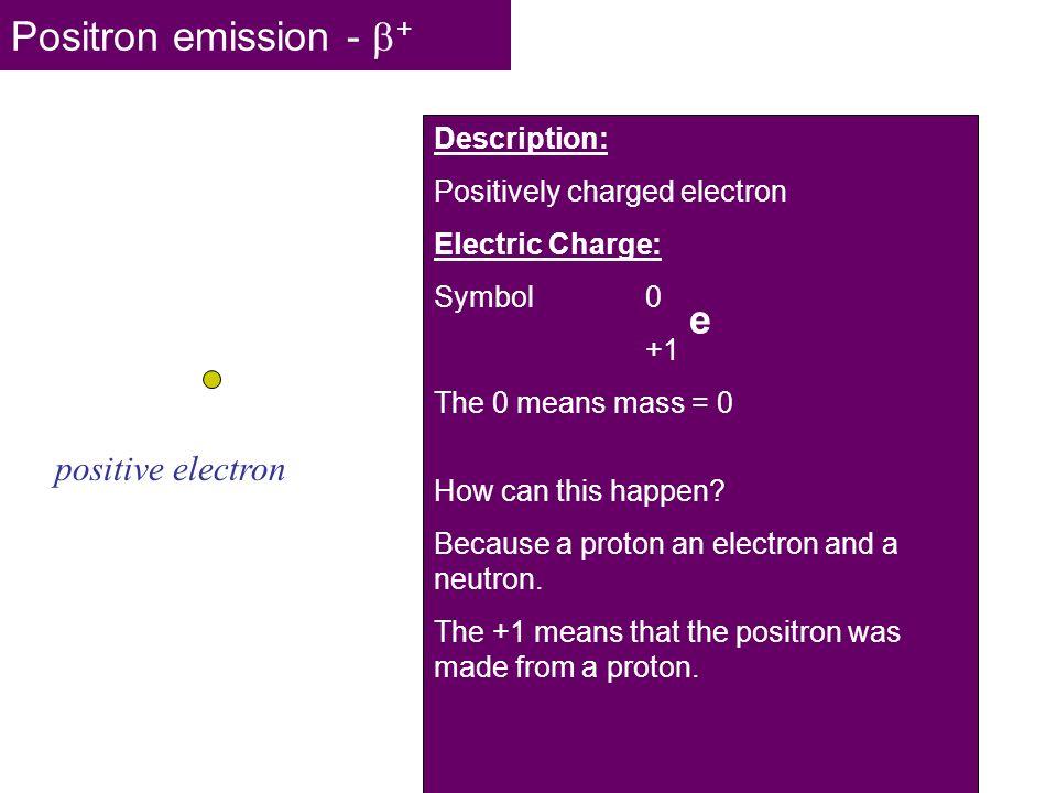 Positron emission - + e positive electron Description: